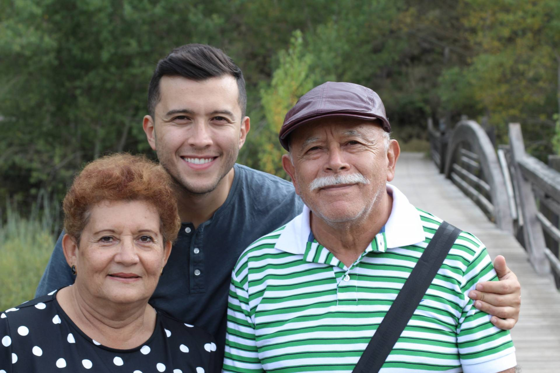 South American family with grown up son